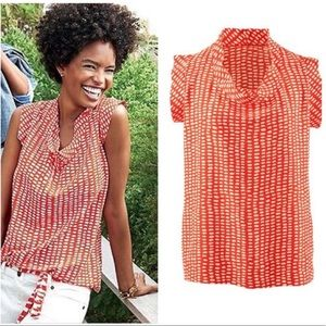 CAbi Madeline cap sleeve red white print blouse